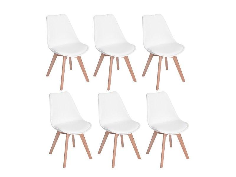 Lot de 6 chaises design contemporain nordique scandinave -tulipe chaises- pieds en bois de hêtre massif - blanc