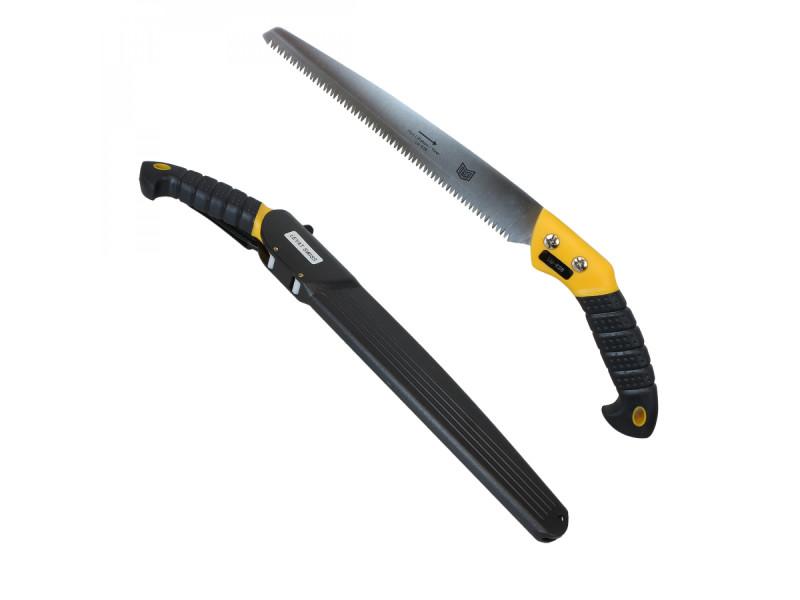Scie à main multi usage à coupe tirante - lame 28 cm - jaune et noire