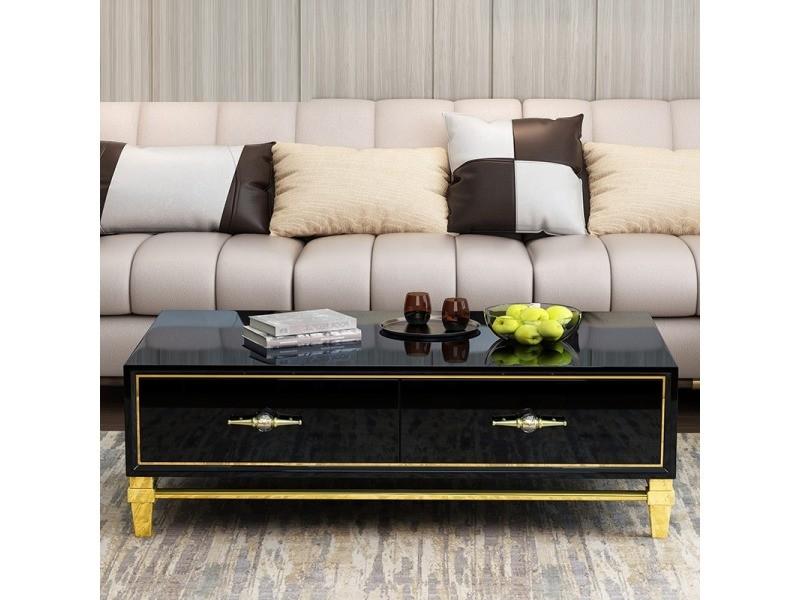Table basse design couleur or et noir bury