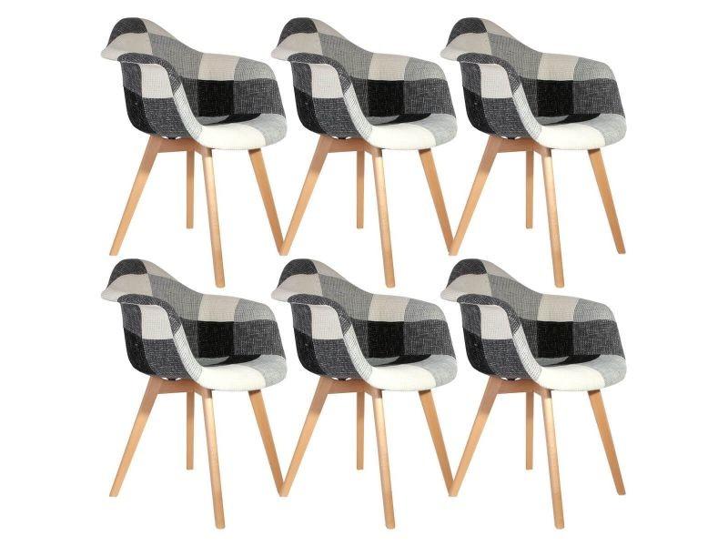Mozaik - lot de 6 fauteuils scandinaves noirs et blancs