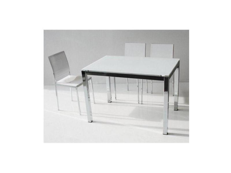 Table repas extensible majestic 130 x 80 cm en verre blanc et aluminium chrome 20100836747