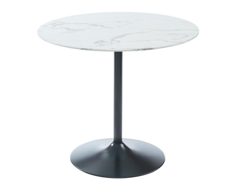 Table de séjour ronde en verre trempé - 90 x 90 x 76 cm -pegane-
