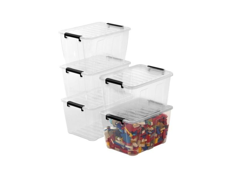 Lot de 5 boites de rangement 15l - plastique transparent