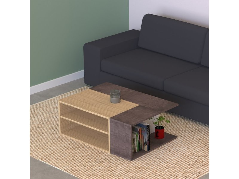 Table basse angle - chêne clair et béton