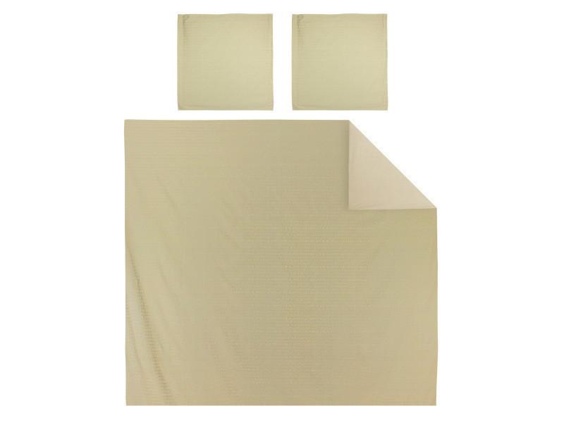 Parure de lit 260x240 cm satin de coton victoire marron clair