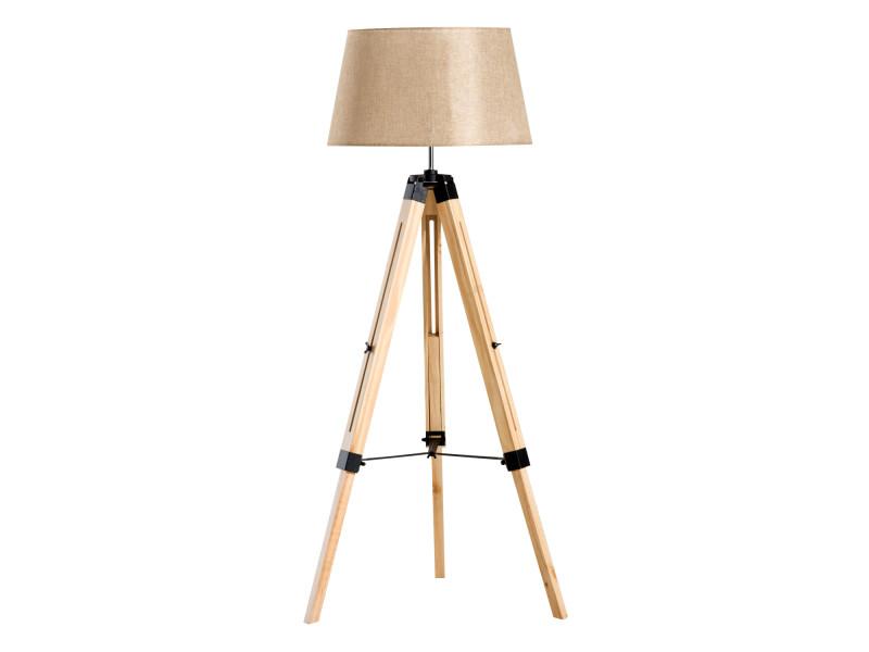 Lampadaire trépied hauteur réglable 65 x 65 x 99-143 cm lampe de sol 40 w bois style nordique beige