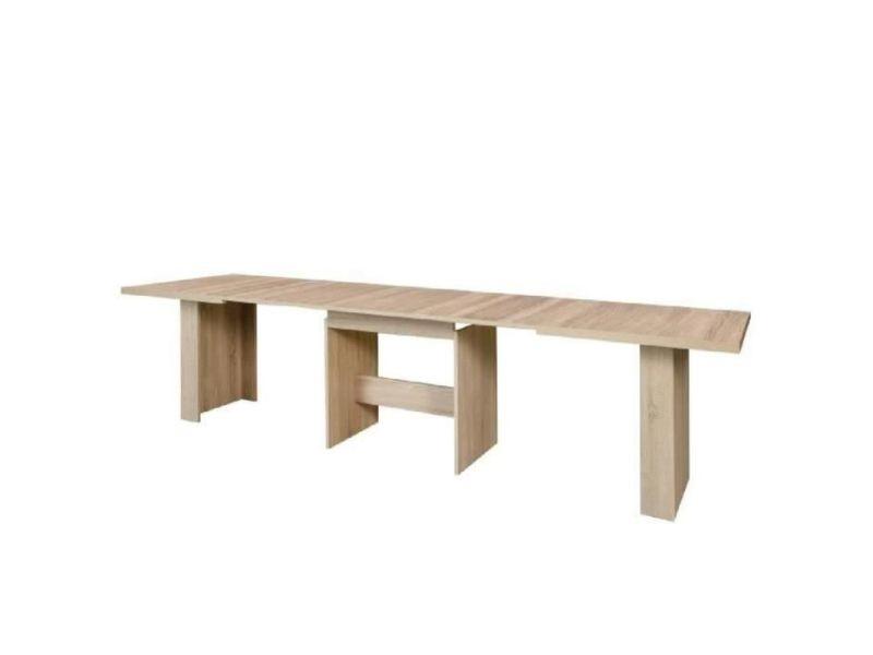Dining table a manger extensible de 6 a 12 personnes style contemporain decor chene sonoma - l 140-273 x l 90 cm EST41D30
