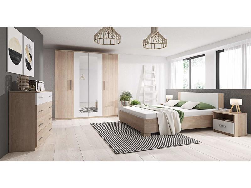 Chambre coucher compl te marco avec lit 160x200 commode - Chambre a coucher complete conforama ...