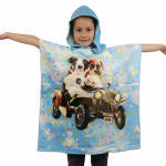 Cape de bain 100% coton éponge chiens bleu
