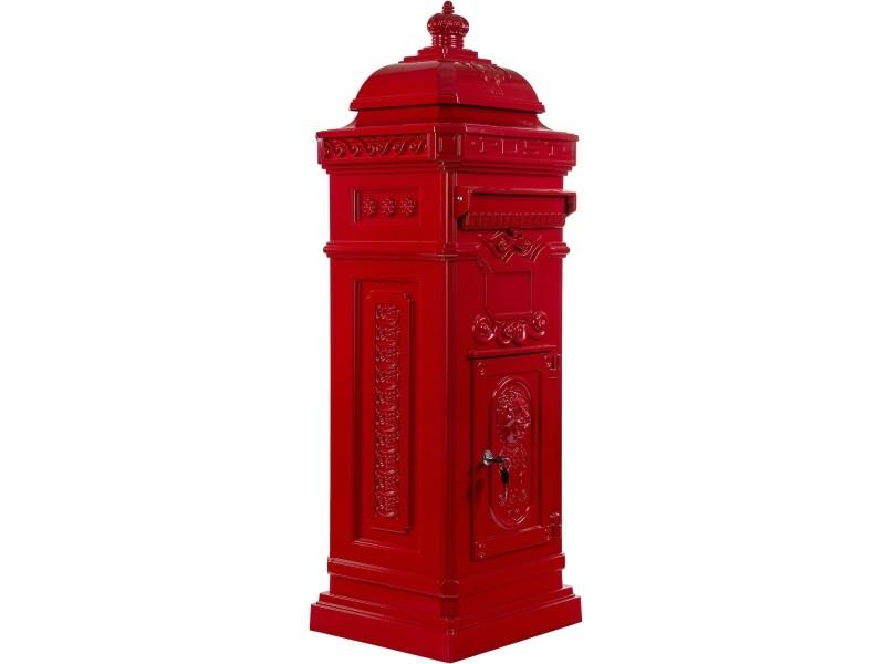 Boîte aux lettres sur pied, style antique anglais, aluminium inox, hauteur: 102,5 cm, coloris : rouge, garantie: 3 ans
