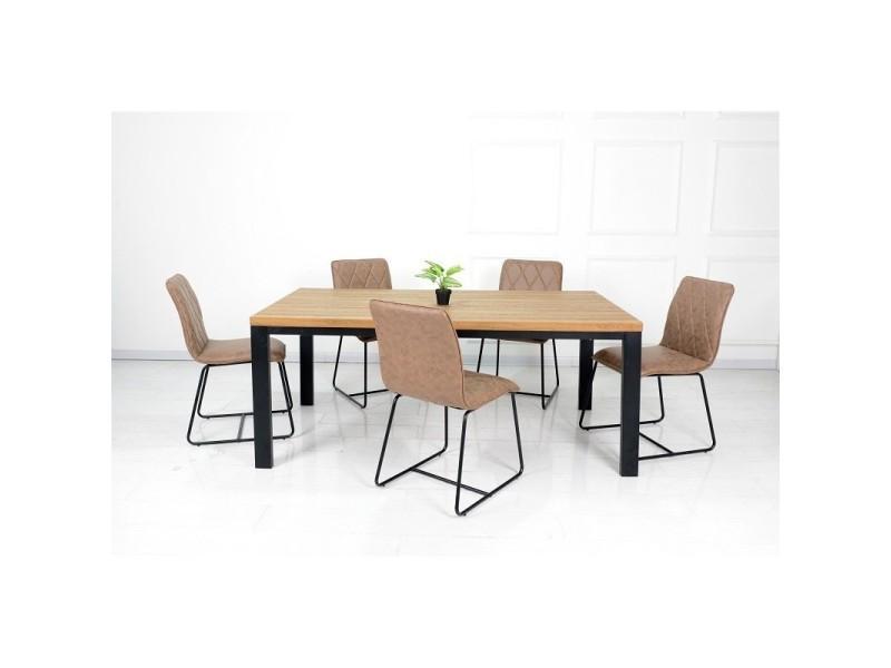 Ensemble table et chaises. Table 180 cm aaron + 6 chaises lea coloris brun.