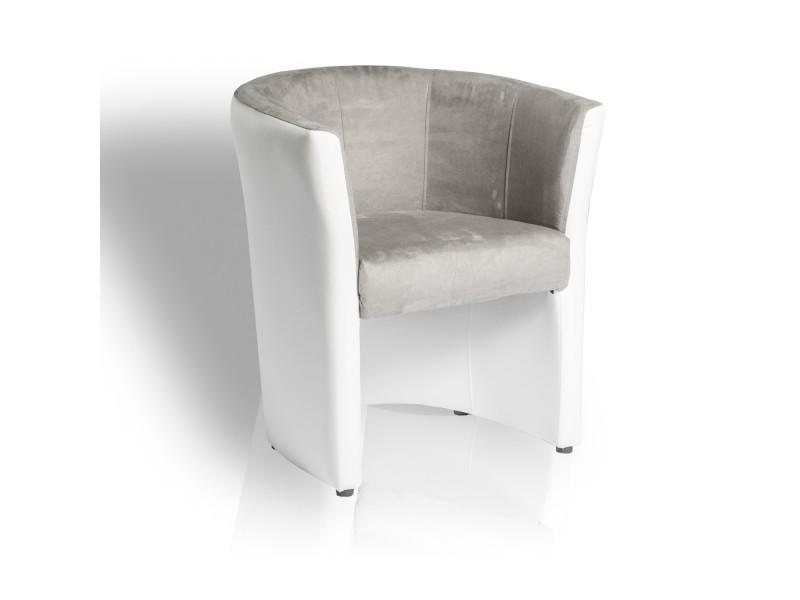 fauteuil omer de type cabriolet gris et blanc conforama. Black Bedroom Furniture Sets. Home Design Ideas