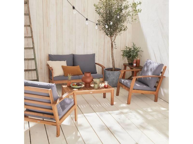 Salon de jardin en bois 4 places - ushuaïa - coussins gris. Canapé. Fauteuils et table basse en acacia. Design
