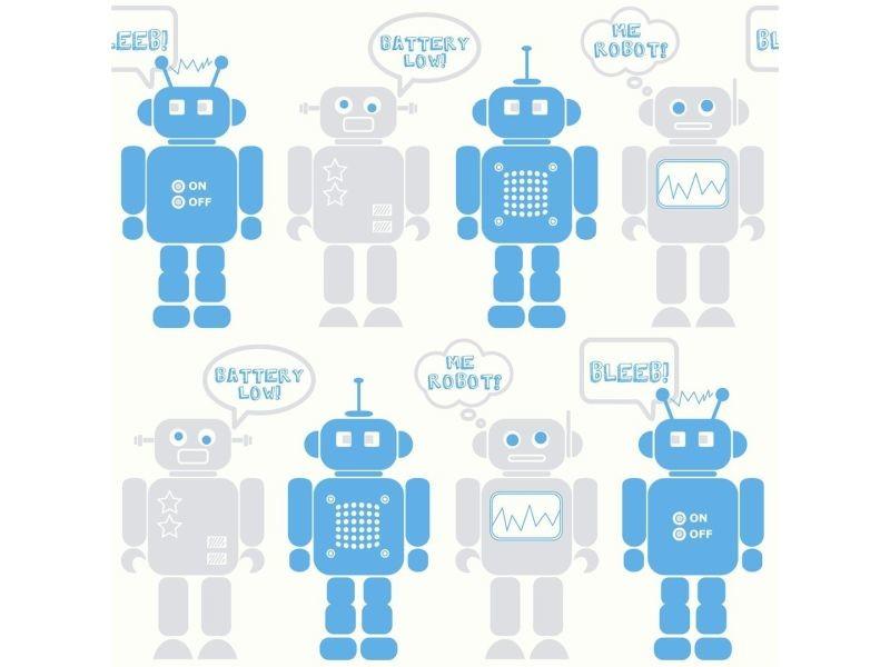 Papier peint support papier robots grainé 1005 x 52cm bleu, gris, blanc 5326298