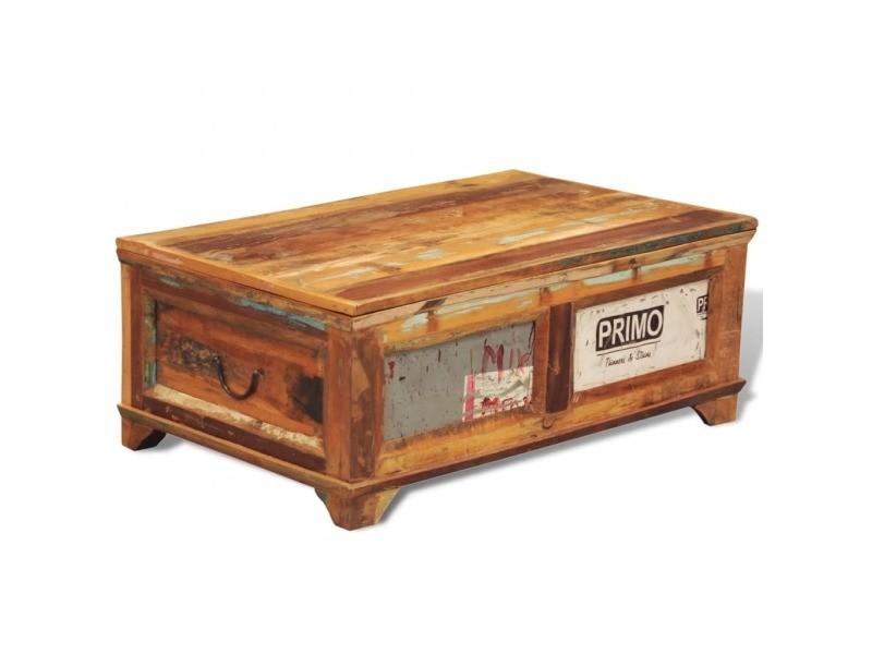 Vidaxl table basse avec espace de rangement vintage bois recyclé 241092