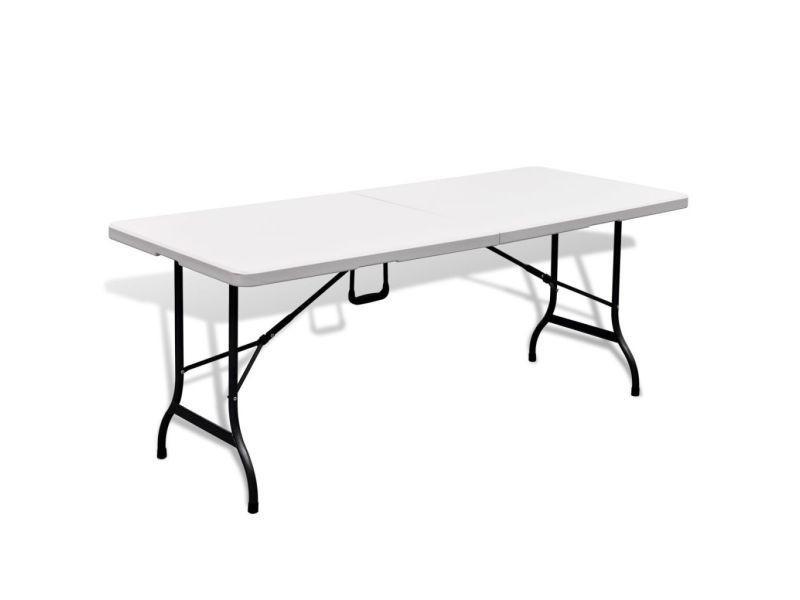Vidaxl table de jardin pliable 180 cm blanche en hdpe 41567 - Vente ...