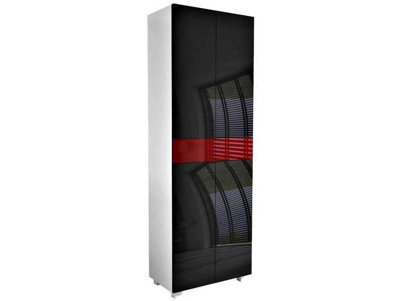 Meuble de salle de bain blanc mat / portes laquées noir / bordeaux 170 x 60 x 34 cm