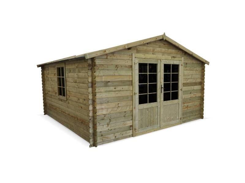 Abri de jardin 4 x 4 m traité autoclave classe 3, meribel en bois fsc de 17,2 m², structure en madriers 28 mm, sapin du nord