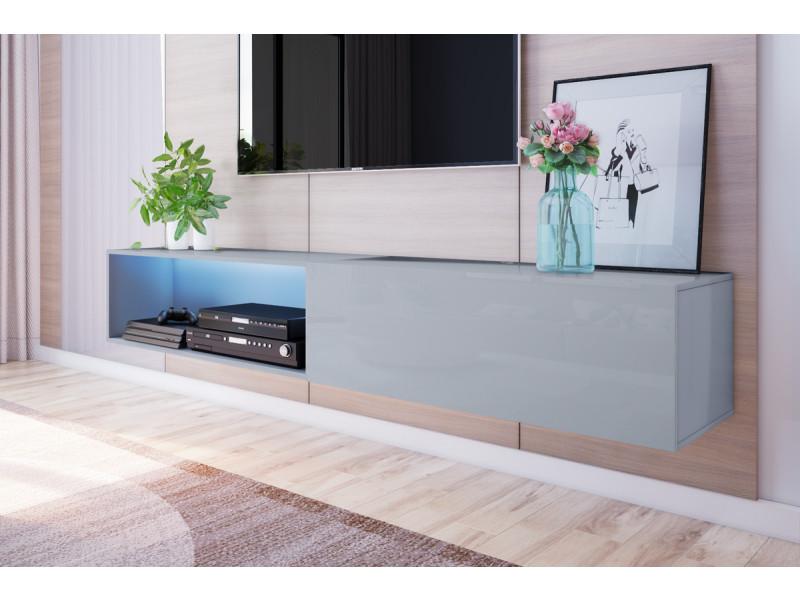 Meuble tv suspendu - Larka - 200 cm - gris - led