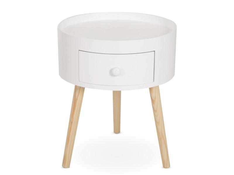 Chevet table de nuit ronde design scandinave tiroir bicolore pieds effilés inclinés bois massif chêne clair blanc