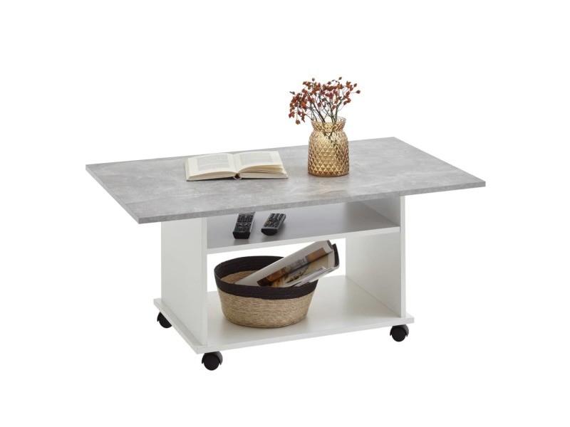 Table Basse Azur Contemporain Blanc Et Gris Effet Beton L 100