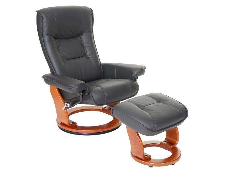 Mca fauteuil relax hamilton, fauteuil de télévision, tabouret, cuir, charge 130kg ~ noir, doré