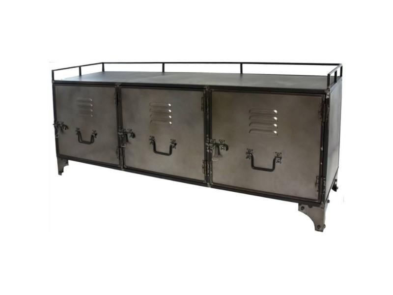 Meuble tele tv meuble industriel fer metal enfilade bahut console 10082