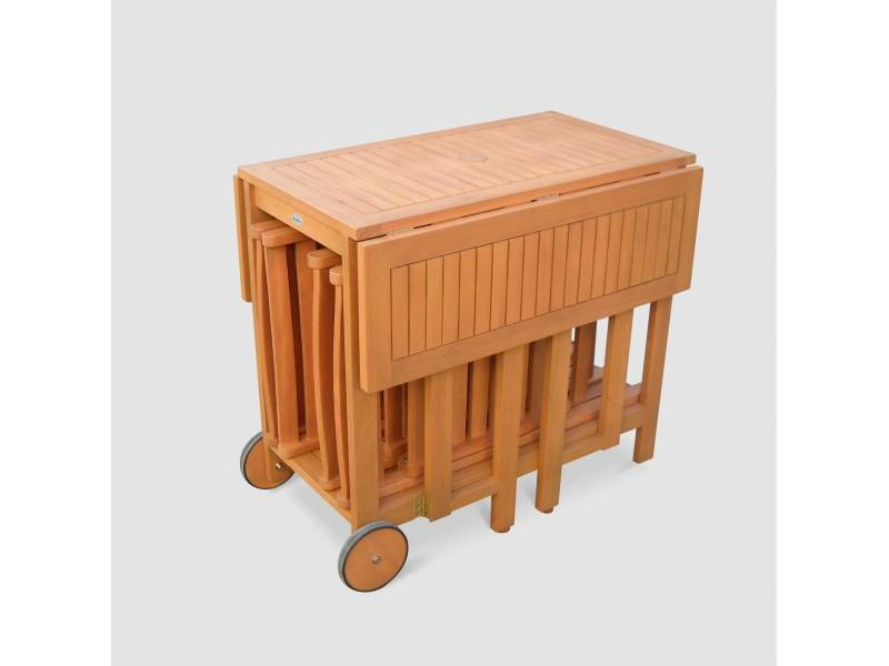 Salon de jardin en bois pliable merida, table rectangle pliable ...