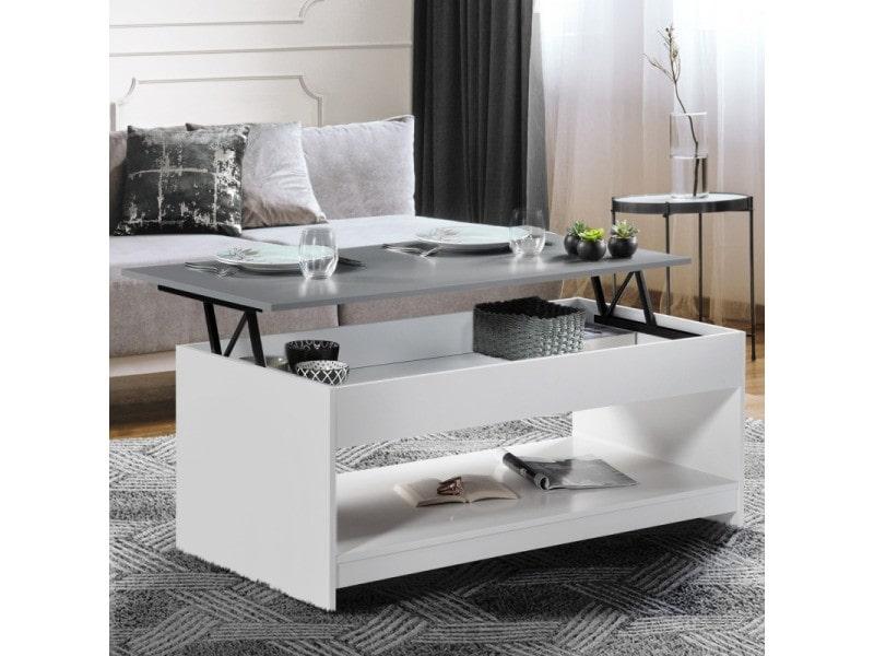 Table basse plateau relevable soa bois blanc plateau gris