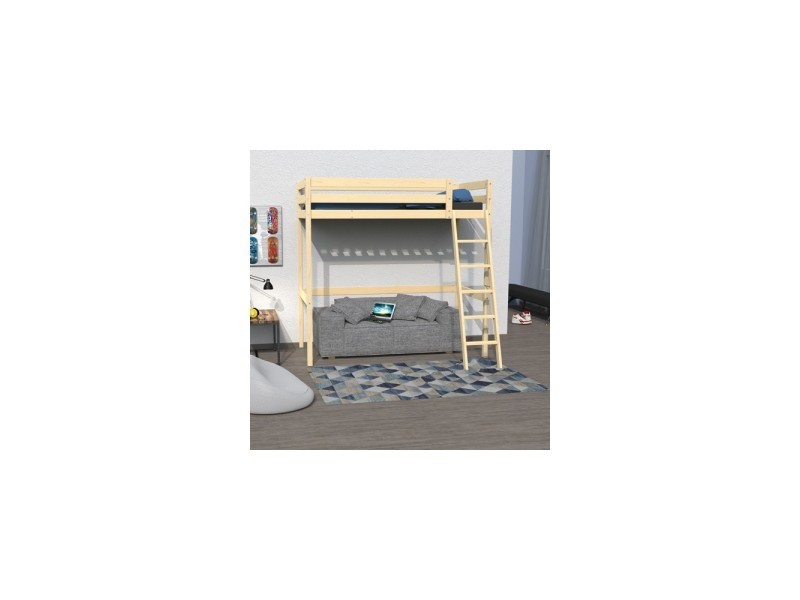 lit mezzanine 140x190 studio 1 sommier vernis naturel vente de lit enfant conforama. Black Bedroom Furniture Sets. Home Design Ideas