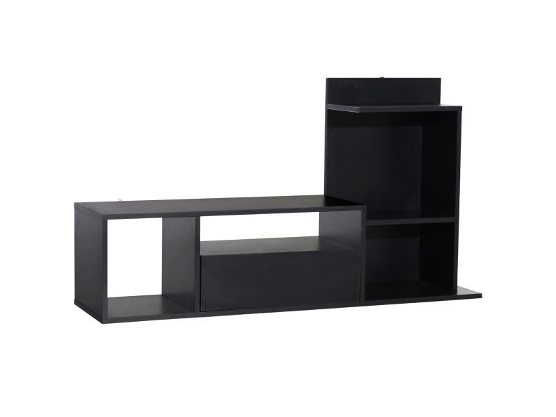 Meuble tv design contemporain multi-rangements grand plateau 3 niches 2 étagères tiroir mélaminé noir mat