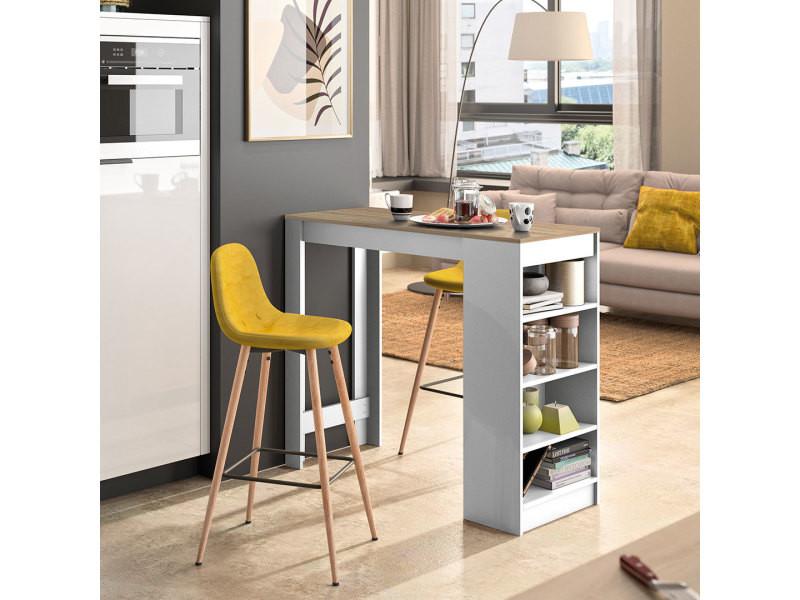 A-cocoon table et chaises - blanc et chêne naturel - jaune