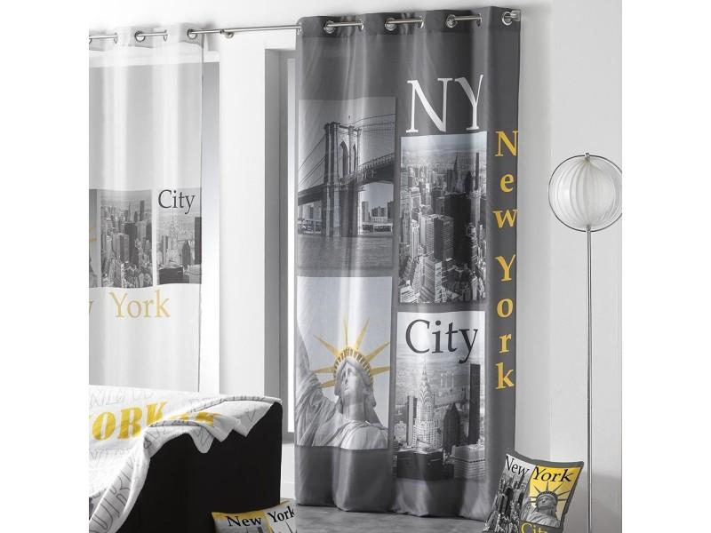 dessin place rideau oeillet microfibre imprim e new york jaune anthracite conforama. Black Bedroom Furniture Sets. Home Design Ideas