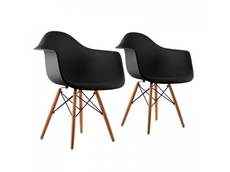 Bellagio set de 2 chaises de salon design style rétro – noir