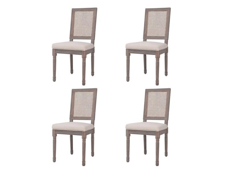 Vidaxl chaise de salle à manger 4 pcs lin rotin 47x58x98cm blanc crème 245358