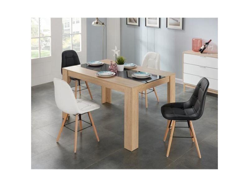 Chaise hema lot de 2 chaises de salle a manger - simili noir et pieds en hetre massif - scandinave - l 44 x p 53 cm
