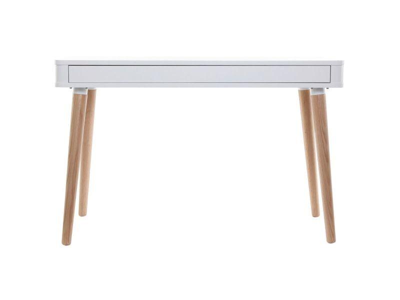 Bureau design scandinave blanc et bois totem vente de bureau