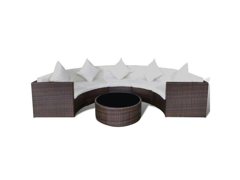 Icaverne - ensembles de meubles d'extérieur collection jeu de canapé de jardin 17 pcs demi-rond résine tressée marron