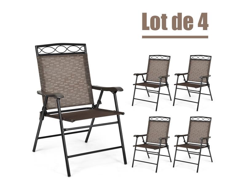 Giantex lot de 4 chaises de jardin en fer et en textilène pliantes avec accoudoirs 48,5 x 64 x 90 cm idéal pour pou terrasse,balcon