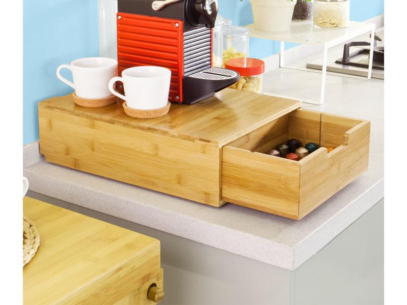 Grande boîte à capsules de café à thé, porte-capsules distributeur de capsules à tiroir en bambou pour grandes machines à espresso dolce gusto sobuy® frg83-n