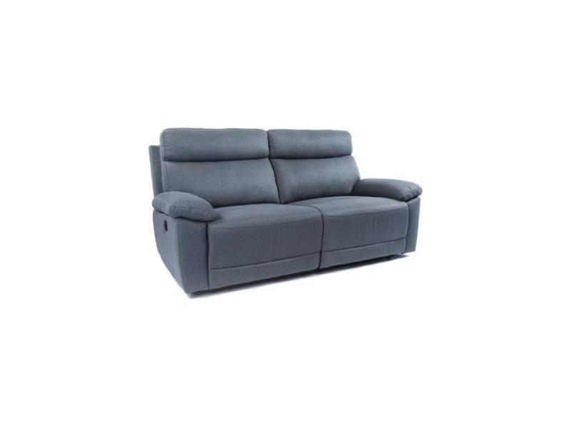 Canape relax 3 places dont 2 electriques - tissu gris - azur JEREZ3PMGR