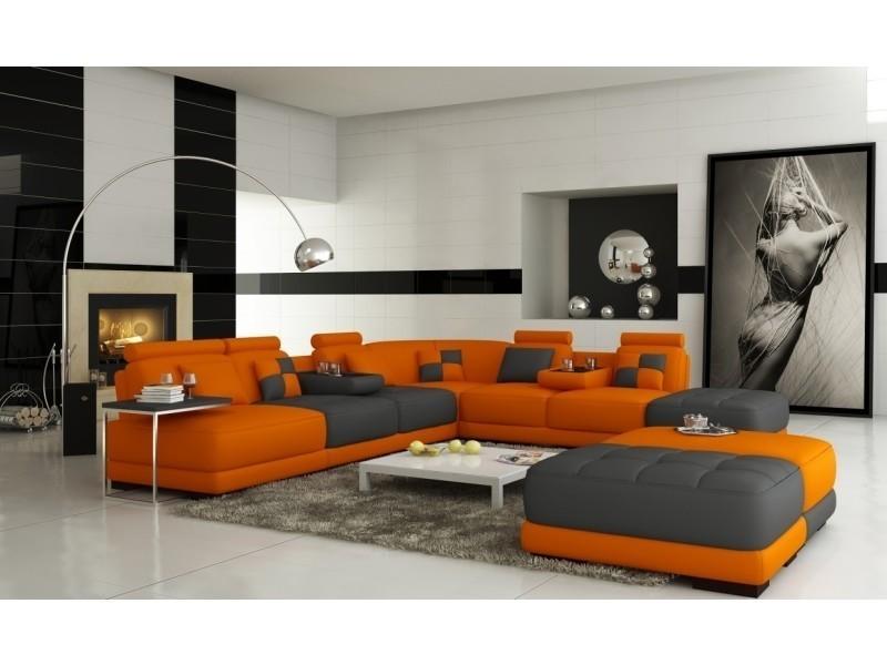 Canapé panoramique en cuir orange et gris design malaga-