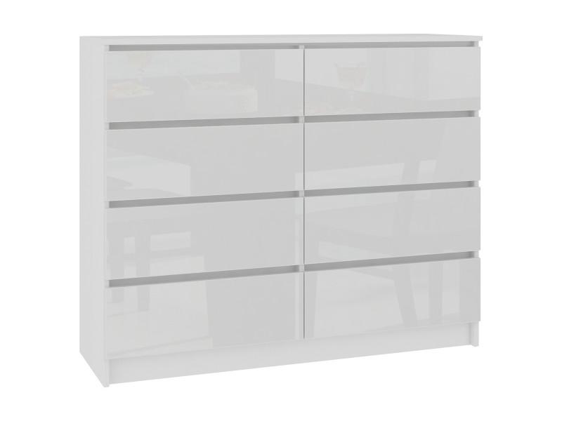 Cupid - commode contemporaine chambre/salon/bureau 8 tiroirs brillants - 120x99x40cm - meuble de rangement multi-fonctionnel - blanc laqué
