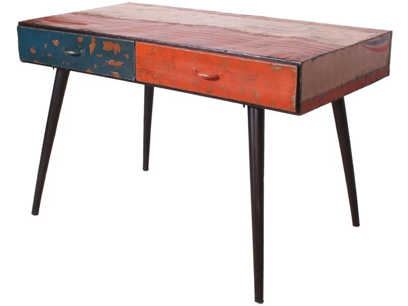 Bureau vintage avec tiroirs en acier recyclé cm cm p