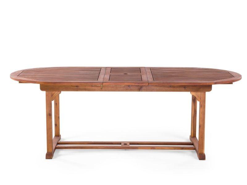 Table de jardin ovale en bois avec rallonges toscana 37378 - Vente ...