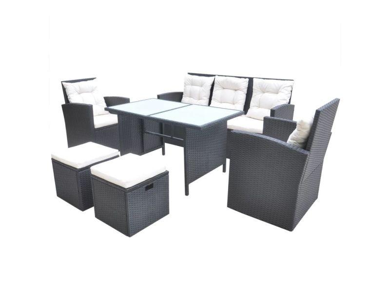 Icaverne - ensembles de meubles d'extérieur selection jeu de mobilier de jardin 18 pcs noir résine tressée