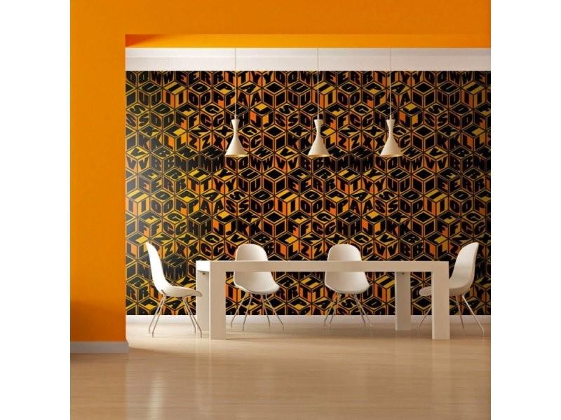 Papier peint cubes couleur miel A1-4XLFTNT0577