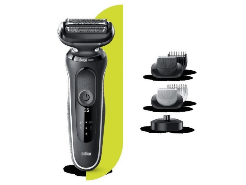 Braun series 5 50-w4650cs tondeuse barbe - 3 sabots - station de charge - technologie wet&dry - autonomie 50min