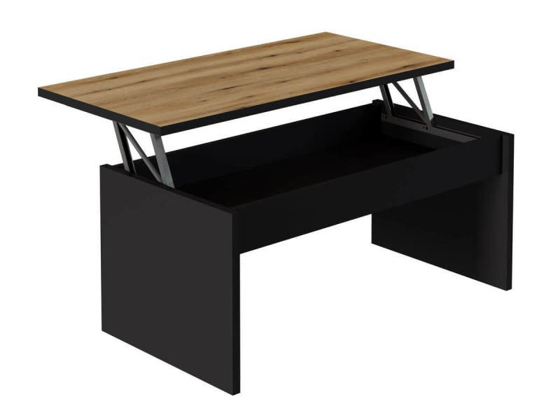 Bobochic table basse avec plateau relevable eren noir et chêne rustique
