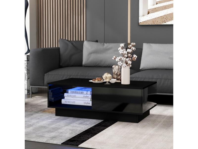 Table basse contemporaine avec éclairage led et tiroir noir